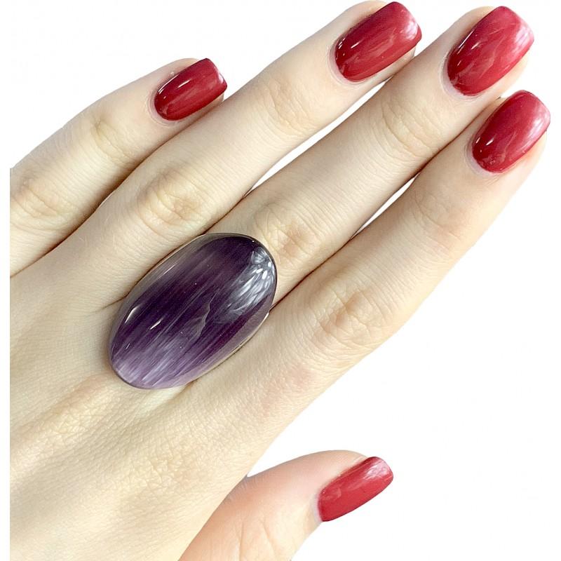Серебряное кольцо SilverBreeze с кошачим глазом (1802977) 18 размер