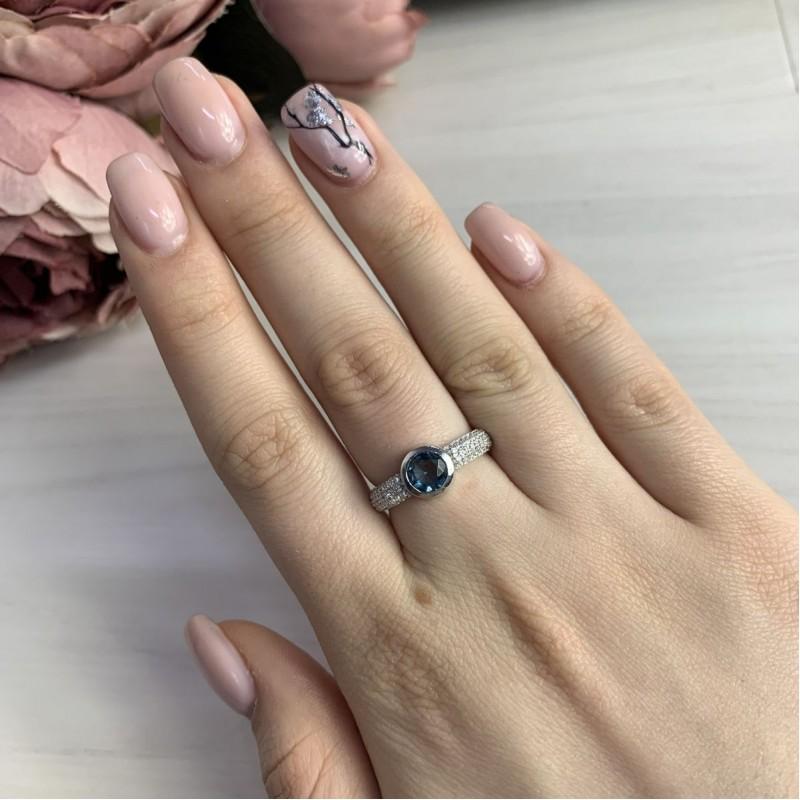 Серебряное кольцо SilverBreeze с натуральным топазом Лондон Блю (1823798) 17.5 размер