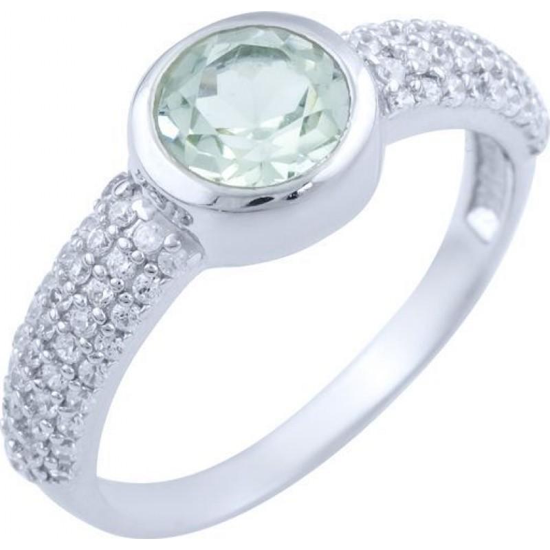 Серебряное кольцо SilverBreeze с натуральным зеленим аметистом (1824115) 17 размер