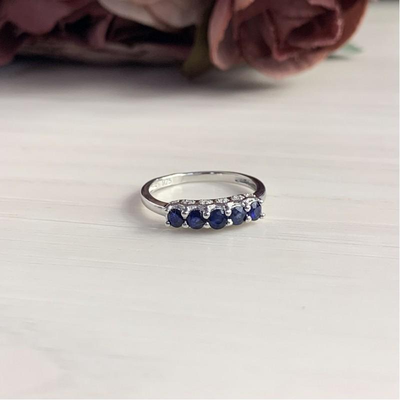 Серебряное кольцо SilverBreeze с натуральным сапфиром (1837733) 17 размер