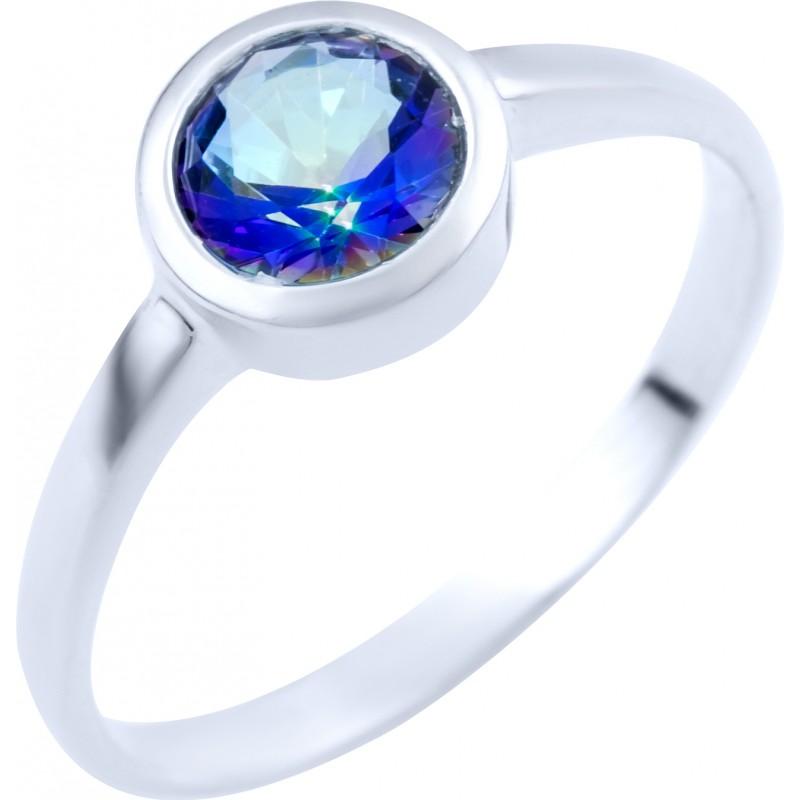 Серебряное кольцо SilverBreeze с натуральным мистик топазом (1838013) 17.5 размер