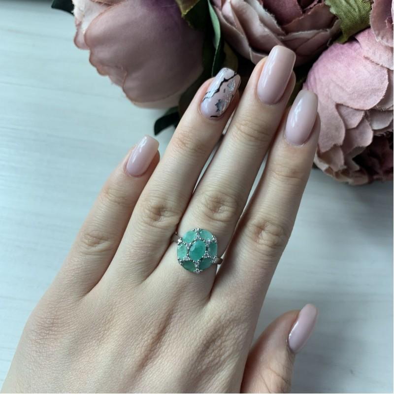Серебряное кольцо SilverBreeze с натуральным изумрудом (1912591) 18 размер