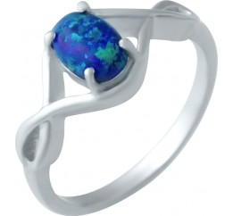 Серебряное кольцо SilverBreeze с опалом, фианитами (1922132) 18 размер