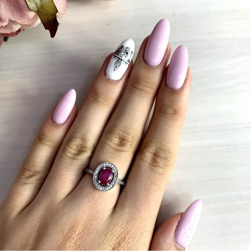Серебряное кольцо SilverBreeze с натуральным рубином (1924006) 16.5 размер