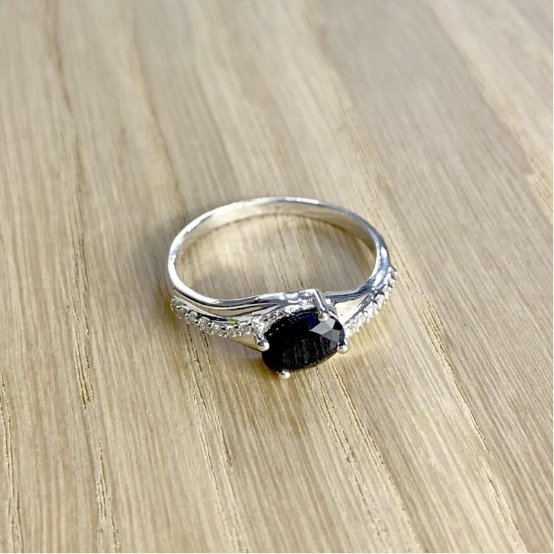 Серебряное кольцо SilverBreeze с натуральным сапфиром (1930243) 18 размер