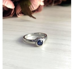 Серебряное кольцо SilverBreeze с натуральным сапфиром (1946923) 17.5 размер