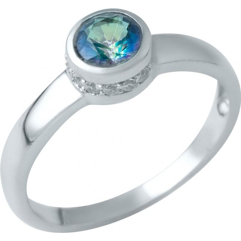 Серебряное кольцо SilverBreeze с натуральным мистик топазом (1949535) 17 размер