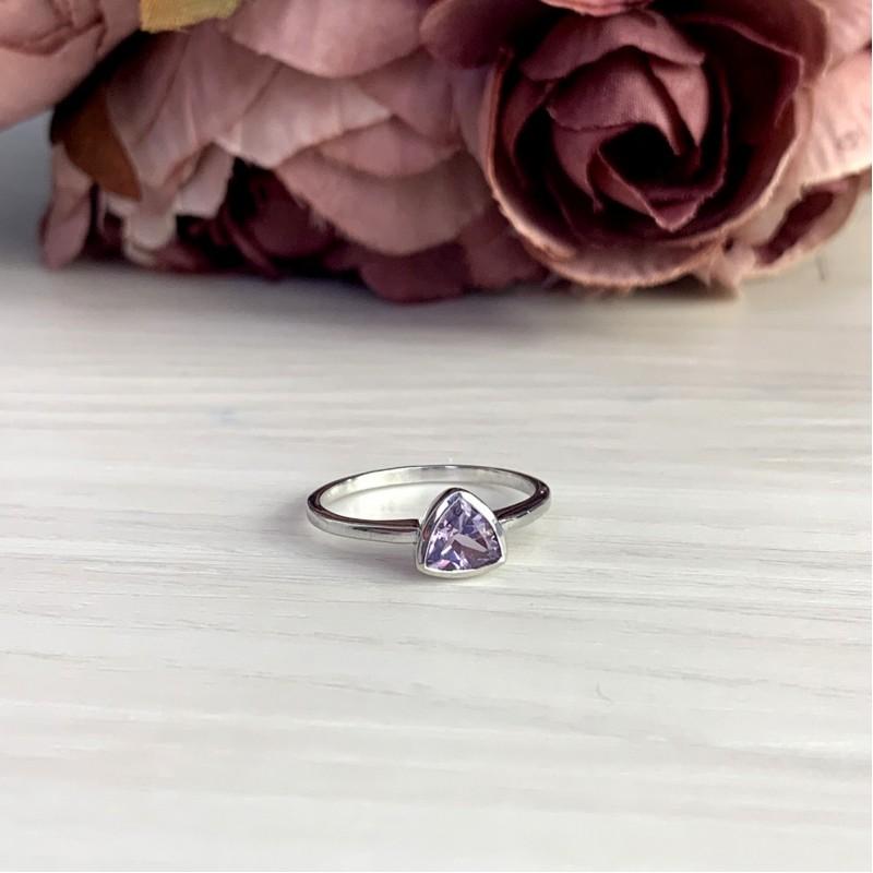 Серебряное кольцо SilverBreeze с натуральным аметистом (1969533) 17.5 размер