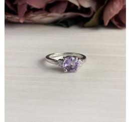 Серебряное кольцо SilverBreeze с натуральным аметистом (1951712) 17 размер