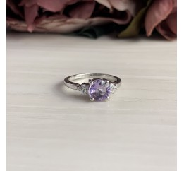 Серебряное кольцо SilverBreeze с натуральным аметистом (1951712) 16 размер
