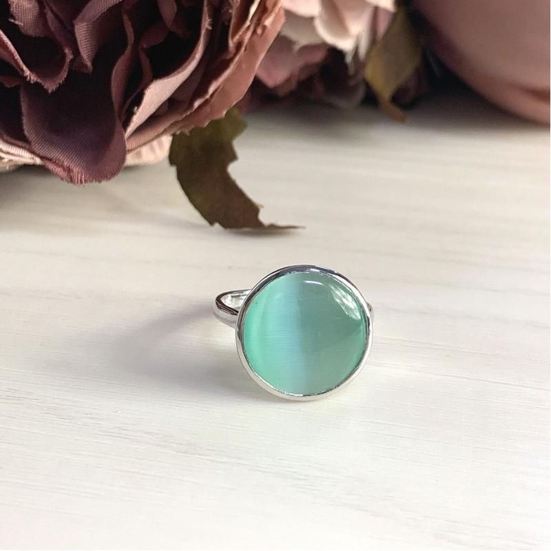 Серебряное кольцо SilverBreeze с кошачим глазом (1955451) 17 размер