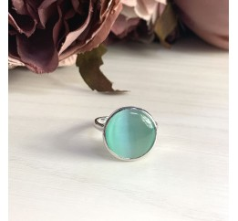 Серебряное кольцо SilverBreeze с кошачим глазом (1955451) 16.5 размер