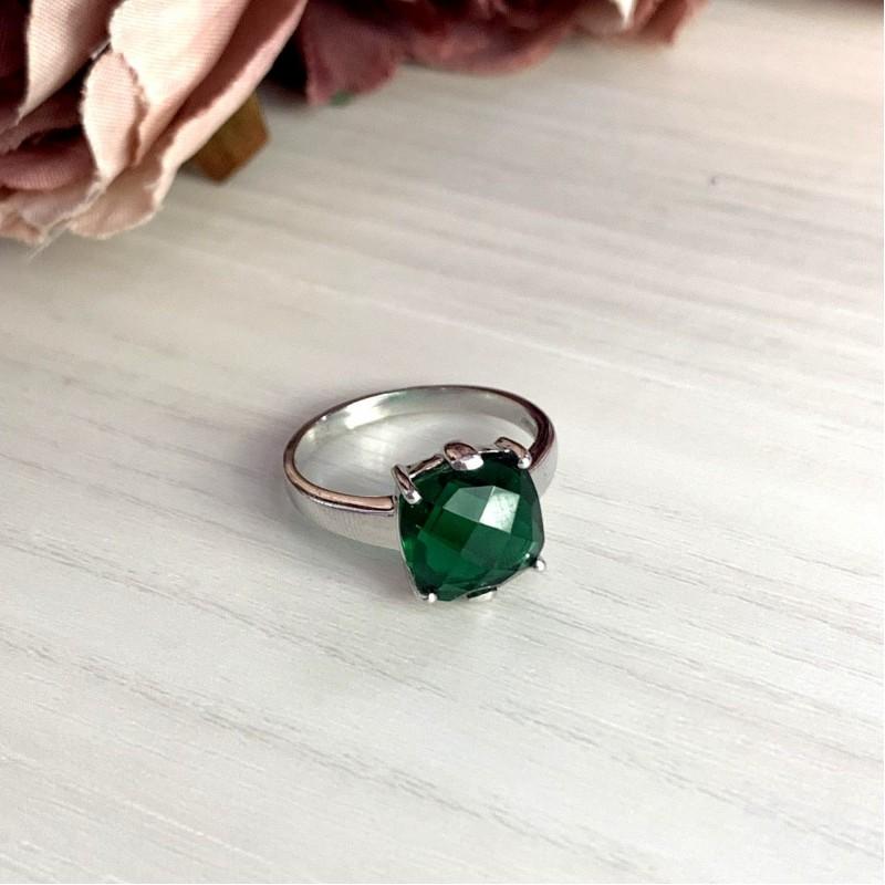 Серебряное кольцо SilverBreeze с изумрудом nano (1959510) 18 размер