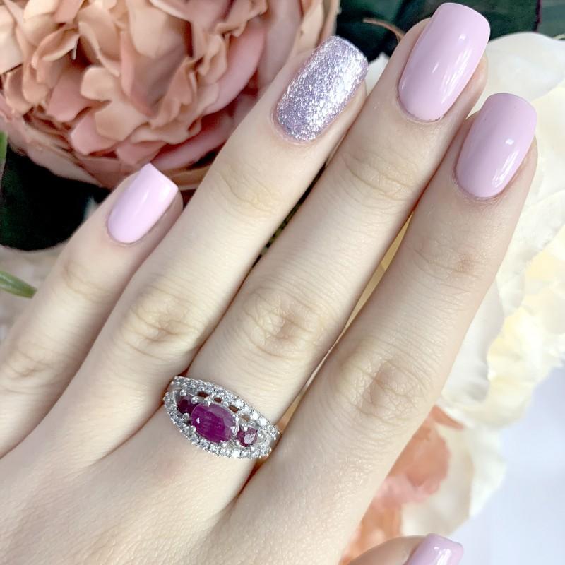 Серебряное кольцо SilverBreeze с натуральным рубином (1963333) 17 размер