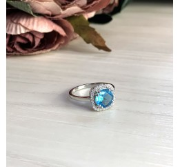 Серебряное кольцо SilverBreeze с аквамарином nano (1965337) 18 размер