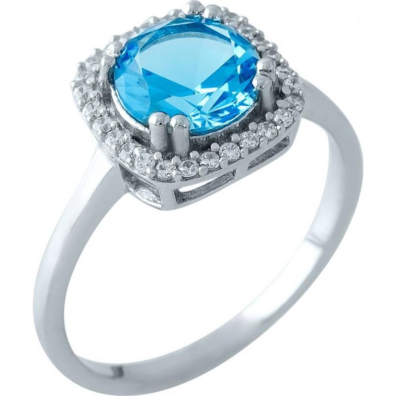 Серебряное кольцо SilverBreeze с аквамарином nano (1965337) 17 размер