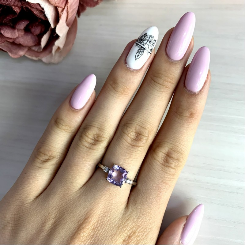 Серебряное кольцо SilverBreeze с натуральным аметистом (1965955) 17 размер