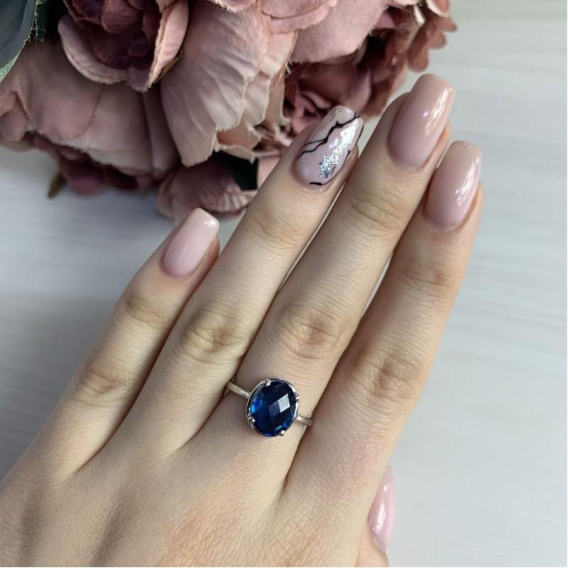 Серебряное кольцо SilverBreeze с натуральным топазом Лондон Блю (1966235) 17 размер
