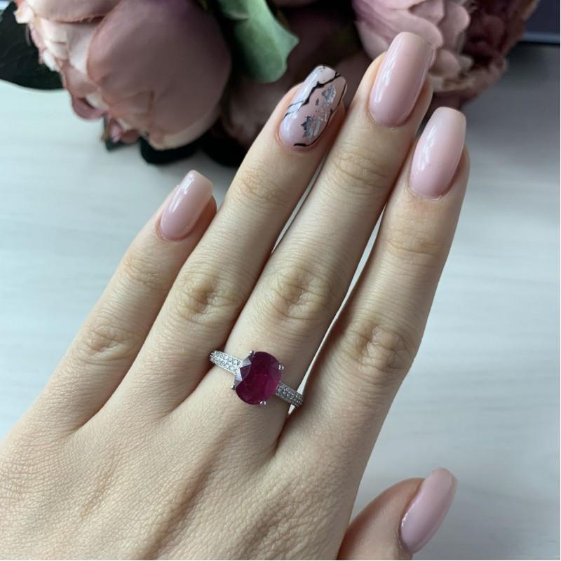 Серебряное кольцо SilverBreeze с натуральным рубином (1968116) 18 размер