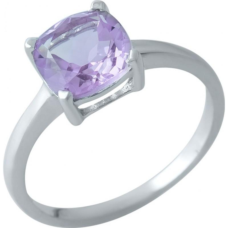 Серебряное кольцо SilverBreeze с натуральным аметистом (1969670) 18 размер