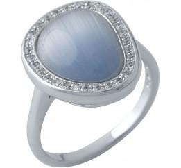 Серебряное кольцо SilverBreeze с кошачим глазом (1977156) 17 размер