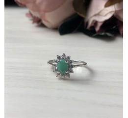 Серебряное кольцо SilverBreeze с натуральным изумрудом (1982044) 17 размер