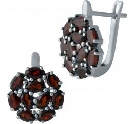 Серебряные серьги SilverBreeze с натуральным гранатом (1983942)