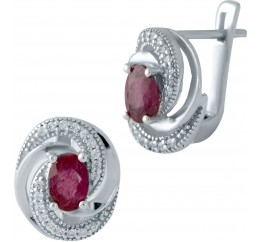 Серебряные серьги SilverBreeze с натуральным рубином (1986868)