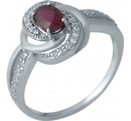 Серебряное кольцо SilverBreeze с натуральным рубином (1987483) 18 размер