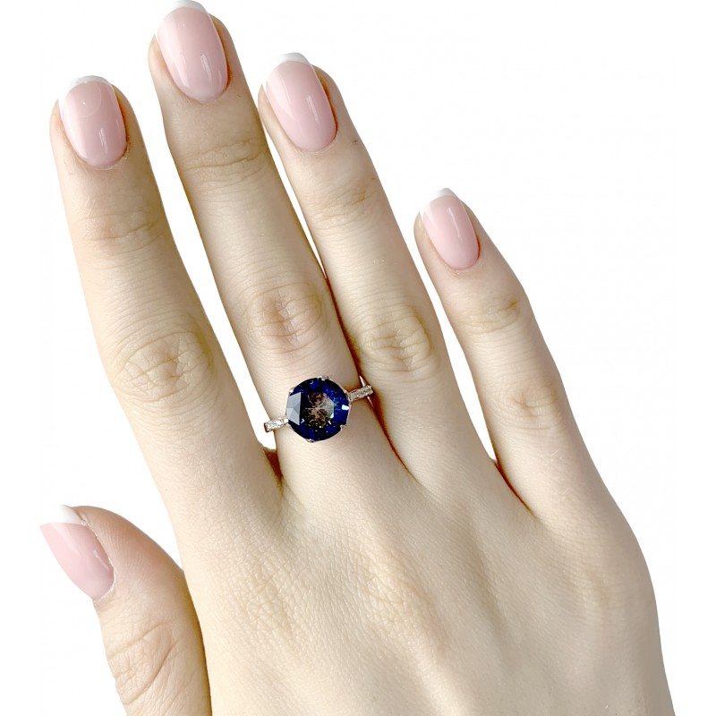 Серебряное кольцо SilverBreeze с натуральным мистик топазом (1988336) 18 размер