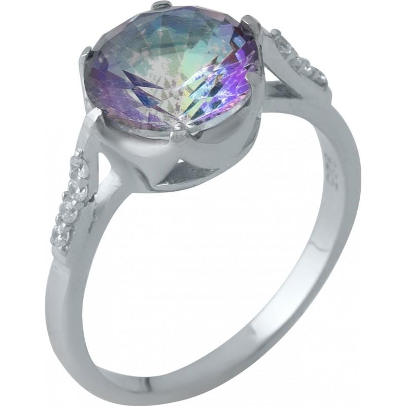 Серебряное кольцо SilverBreeze с натуральным мистик топазом (1988336) 17 размер