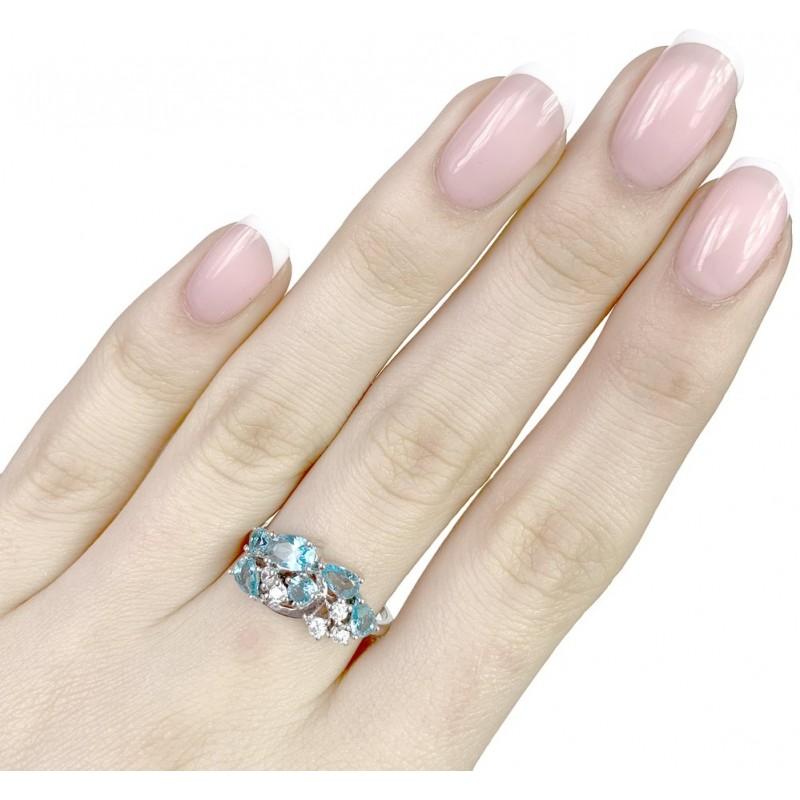 Серебряное кольцо SilverBreeze с аквамарином nano (1988770) 17 размер