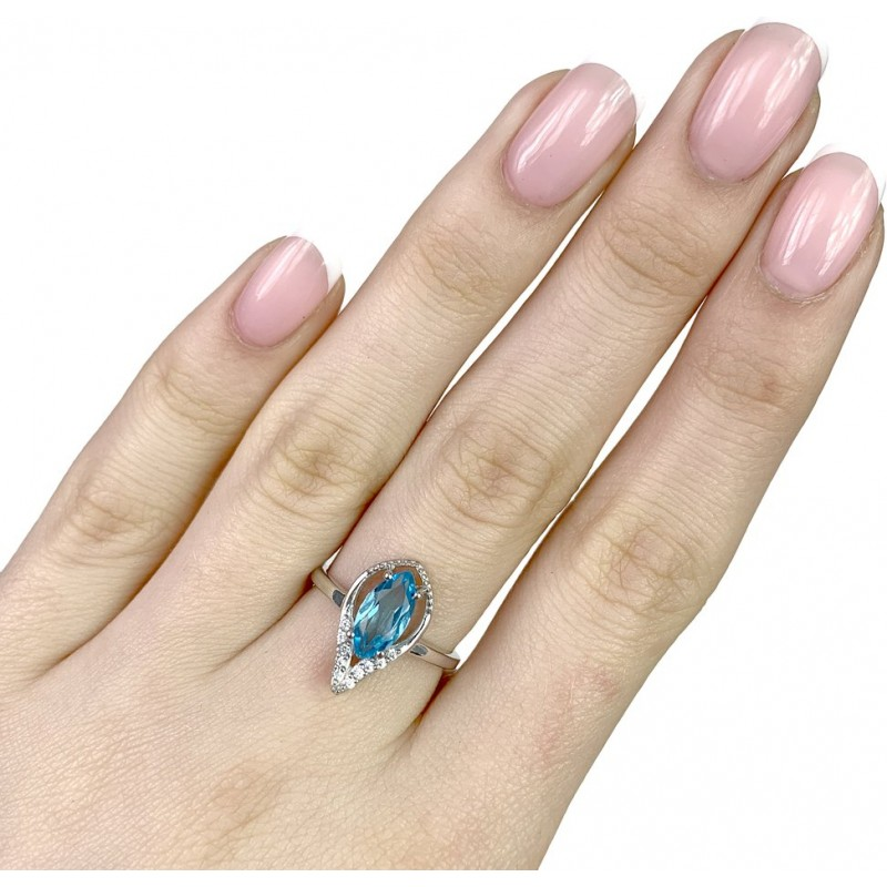 Серебряное кольцо SilverBreeze с аквамарином nano (1988831) 17 размер