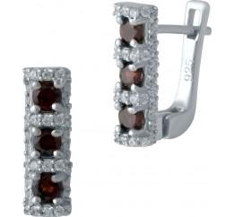 Серебряные серьги SilverBreeze с натуральным гранатом (1989265)