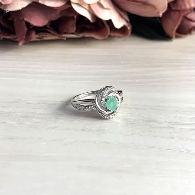 Серебряное кольцо SilverBreeze с натуральным изумрудом (1990469) 17.5 размер