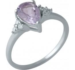 Серебряное кольцо SilverBreeze с натуральным аметистом (1996263) 16.5 размер