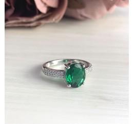 Серебряное кольцо SilverBreeze с изумрудом nano (2000921) 18 размер