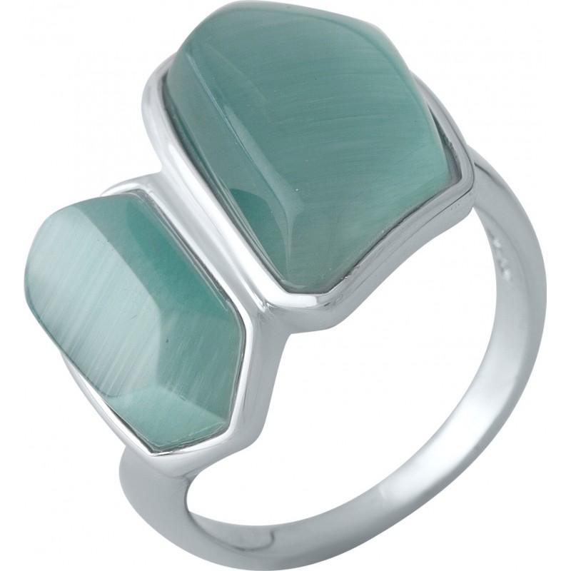 Серебряное кольцо SilverBreeze с кошачим глазом (2002703) 16.5 размер