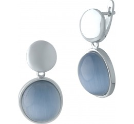 Серебряные серьги SilverBreeze с кошачим глазом (2003014)