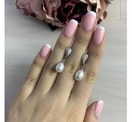 Серебряные серьги SilverBreeze с натуральным жемчугом (2006435)