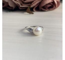 Серебряное кольцо SilverBreeze с натуральным жемчугом (2006442) 18.5 размер