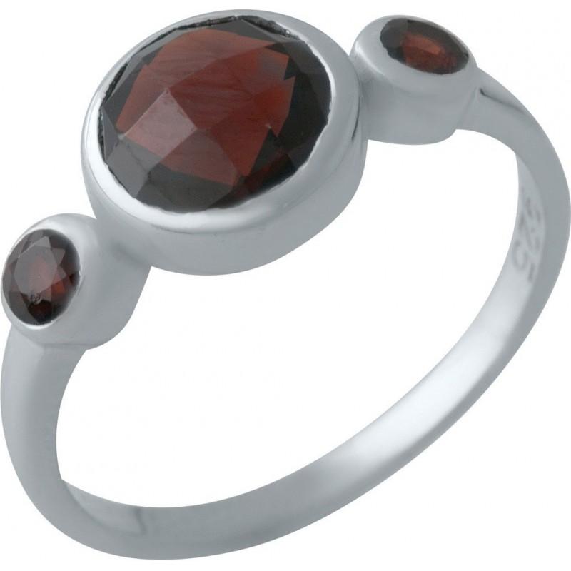 Серебряное кольцо SilverBreeze с натуральным гранатом (2013914) 17 размер