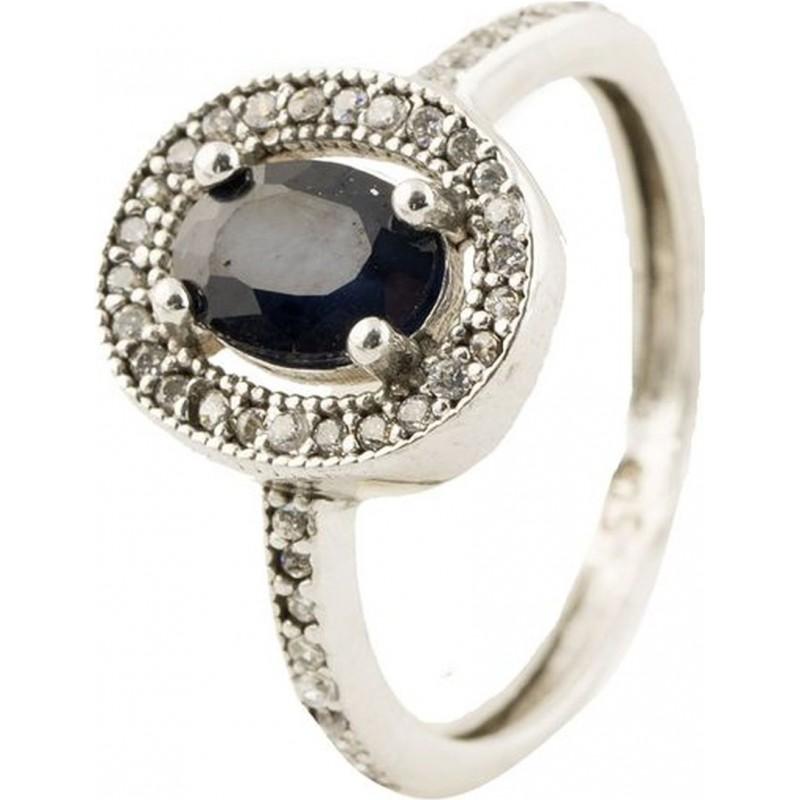 Серебряное кольцо SilverBreeze с натуральным сапфиром (2014232) 17 размер
