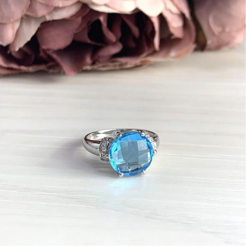 Серебряное кольцо SilverBreeze с аквамарином nano (2016823) 19 размер