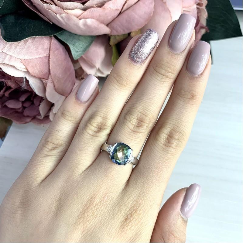 Серебряное кольцо SilverBreeze с натуральным мистик топазом (2016953) 18 размер