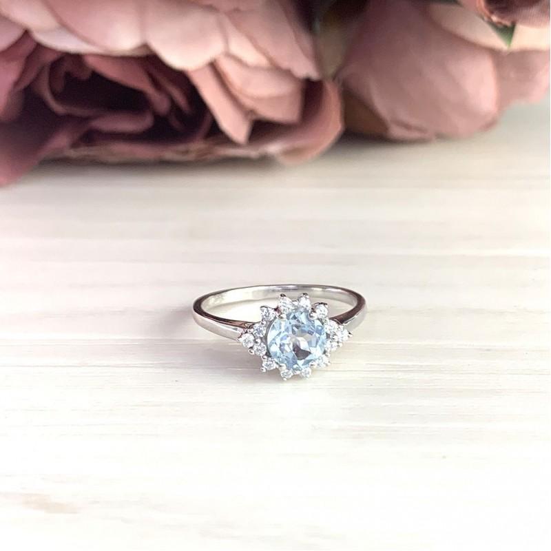 Серебряное кольцо SilverBreeze с натуральным топазом (2018896) 17.5 размер
