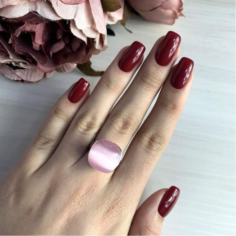 Серебряное кольцо SilverBreeze с кошачим глазом (2022855) 18 размер