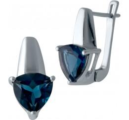 Серебряные серьги SilverBreeze с натуральным топазом Лондон Блю (2024415)