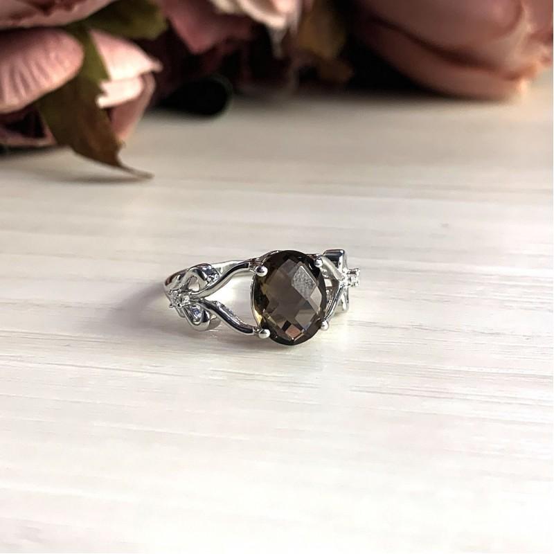 Серебряное кольцо SilverBreeze с натуральным раухтопазом (димчатим кварцем) (2025214) 19 размер
