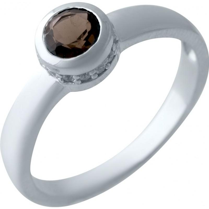 Серебряное кольцо SilverBreeze с натуральным раухтопазом (димчатим кварцем) (2025412) 17.5 размер